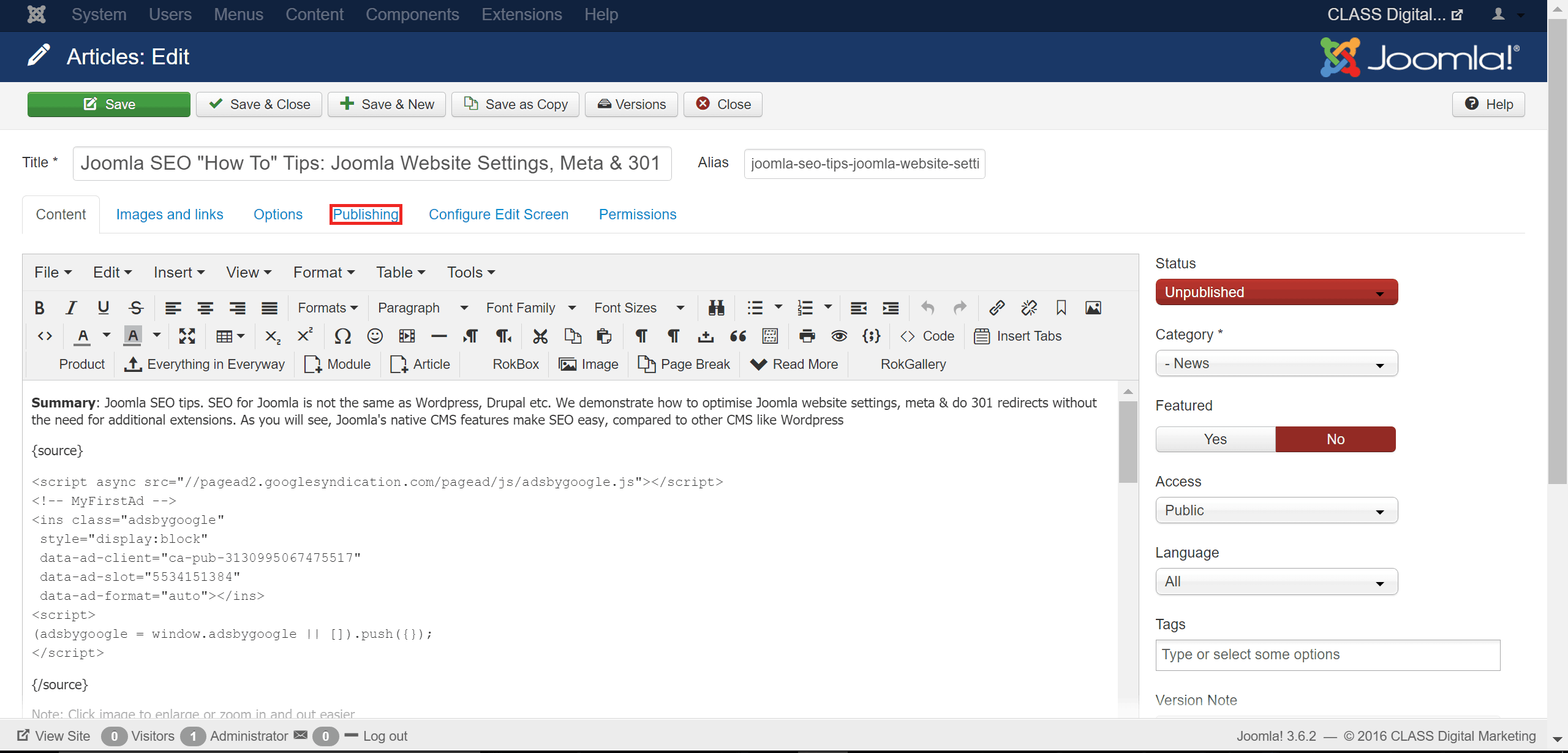 Joomla Website Editor